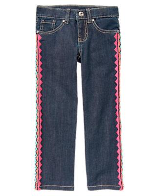Girls Denim Rinestud Chevron Stripe Jean by Gymboree