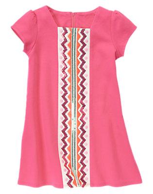 Girls Pony Pink Sequin Chevron Stripe Ponte Dress by Gymboree