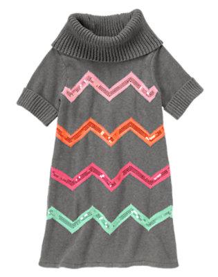 Girls Charcoal Heather Sequin Chevron Stripe Sweater Dress by Gymboree