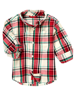 Toddler Boys Holiday Red Plaid Plaid Shirt by Gymboree