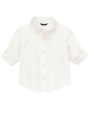 Toddler Boys Ivory Oxford Dress Shirt by Gymboree