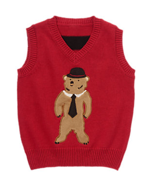Holiday Red Dapper Bear Sweater Vest by Gymboree