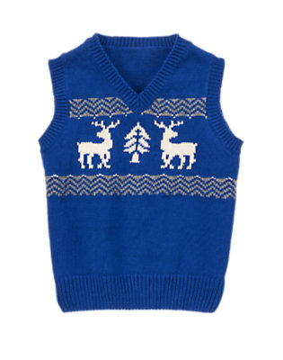 Toddler Boys Royal Blue Fair Isle Reindeer Sweater Vest by Gymboree