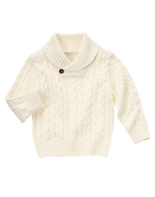 Winter Ivory Shawl Collar Cable Sweater by Gymboree