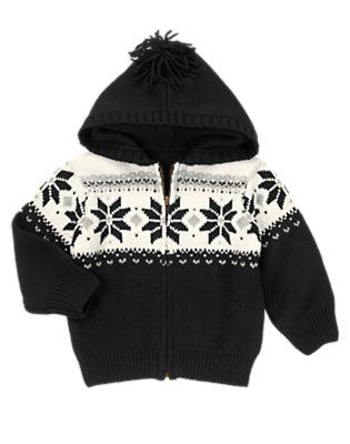 Black Fair Isle Fair Isle Hooded Sweater Cardigan by Gymboree