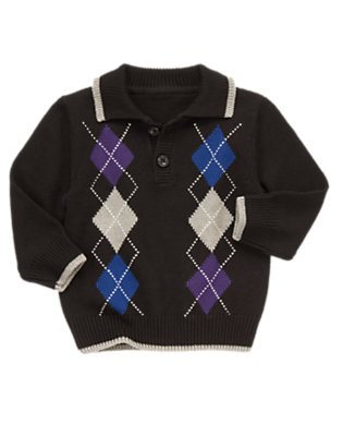 Black Argyle Argyle Pullover Sweater by Gymboree