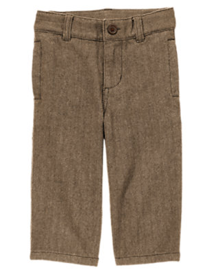 Toffee Brown Tweed Dressy Herringbone Pant by Gymboree