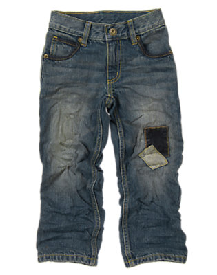 Boys Denim Patched Knee Jean by Gymboree