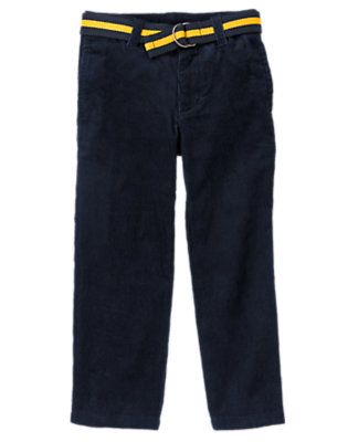 Boys Football Navy Belted Corduroy Pant by Gymboree