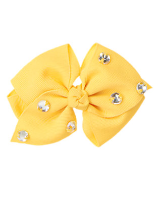 Girls Sunflower Yellow Gem Bow Pinch Hair Clip by Gymboree