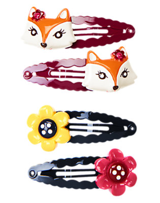 Girls Berry Purple Fox Flower Snap Clip Four-Pack by Gymboree