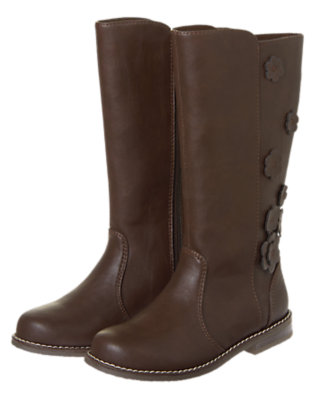 Girls Chocolate Brown Flower Faux Leather Boot by Gymboree