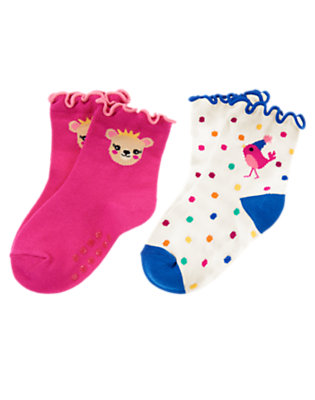 Toddler Girls Fuchsia Pink Bird & Bear Sock Two-Pack by Gymboree