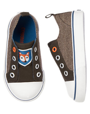 Brown Herringbone Fox Herringbone Laceless Sneaker by Gymboree