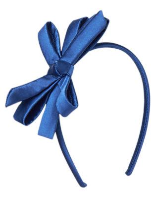 Toddler Girls Royal Blue Satin Bow Headband by Gymboree