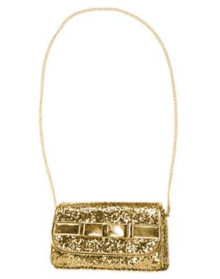 Metallic Gold Bow Glitter Purse by Gymboree