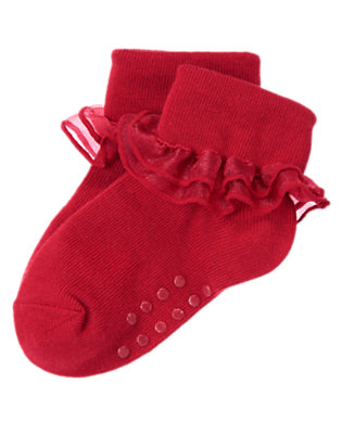 Toddler Girls Holiday Red Organza Ruffle Foldover Sock by Gymboree