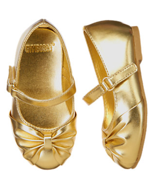 Metallic Gold Bow Patent Ballet Flat by Gymboree