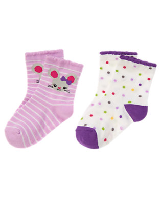 Toddler Girls Sweet Lavender Mouse Dot Sock Two-Pack by Gymboree