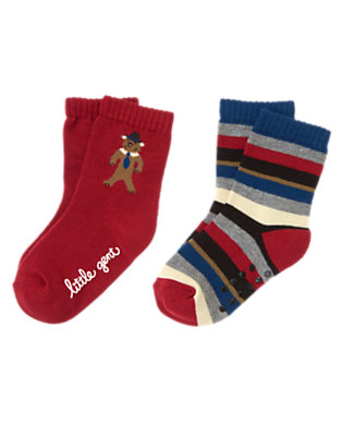 Toddler Boys London Red London Bear Stripe Sock Two-Pack by Gymboree