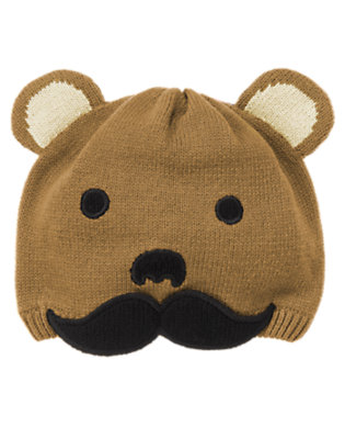 Toddler Boys Cub Brown Bear Moustache Sweater Hat by Gymboree