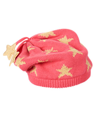 Girls Popcorn Pink/Gold Sparkle Star Sweater Hat by Gymboree