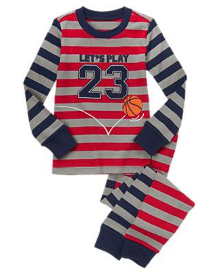 Boys Grey Stripe Basketball Stripe Two-Piece Gymmies® by Gymboree
