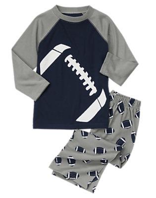 Boys Grey Football Two-Piece Pajama Set by Gymboree