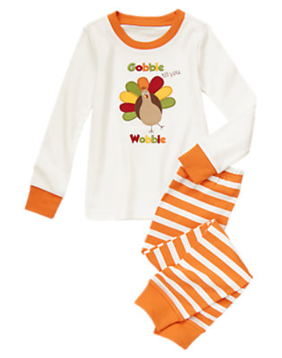 Toddler Boys Ivory Turkey Two-Piece Gymmies® by Gymboree
