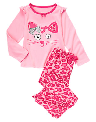 Toddler Girls Perfect Pink Leopard Kitty Two-Piece Pajama Set by Gymboree