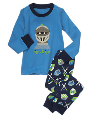 Toddler Boys Castle Blue Night Knight Two-Piece Gymmies® by Gymboree