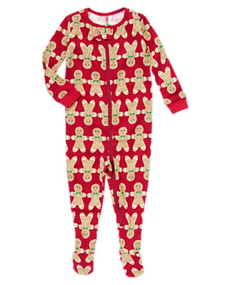 Holiday Red Gingerbread Cookie Footed One-Piece Pajama by Gymboree