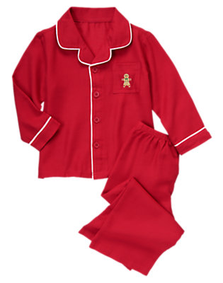 Holiday Red Gingerbread Cookie Two-Piece Pajama Set by Gymboree