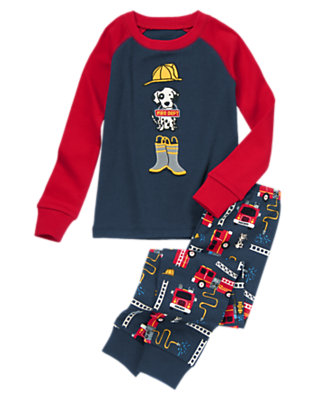 Navy Fire House Pup Two-Piece Gymmies® by Gymboree