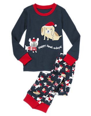 Midnight Navy Happy Howl-adays Two-Piece Gymmies® by Gymboree