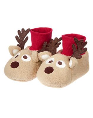 Tan Reindeer Fleece Slippers by Gymboree