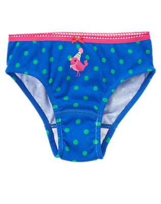 Toddler Girls Royal Blue Bird Dot Panty by Gymboree