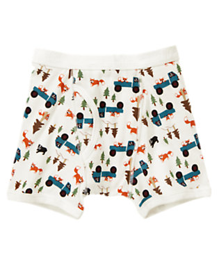 Toddler Boys Ivory Fox Truck Boxer Brief by Gymboree