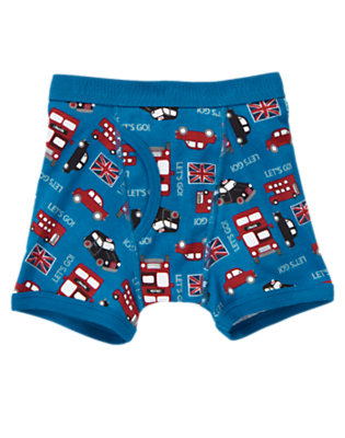 Toddler Boys Bright Blue Let's Go London Boxer Brief by Gymboree