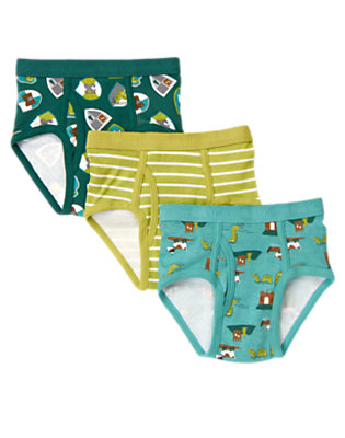 Toddler Boys Green Loch Ness Briefs Three-Pack by Gymboree