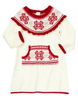 Toddler Girls Winter Ivory Fair Isle Sweater Dress by Gymboree