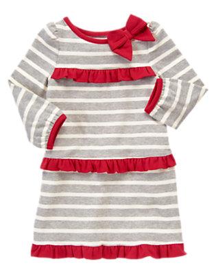 Toddler Girls Heather Grey Stripe Bow Ruffle Stripe Dress by Gymboree