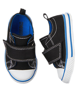 Toddler Boys Black Shell Toe Canvas Sneaker by Gymboree