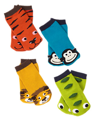Toddler Boys Magic Blue Animal Sock Four-Pack by Gymboree