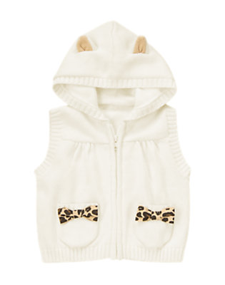 Toddler Girls Jet Ivory Leopard Kitty Sweater Vest Hoodie by Gymboree