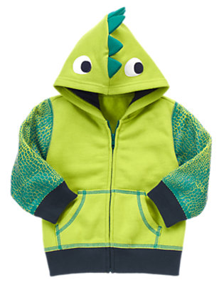 Pistachio Green Dinosaur Fleece Hoodie by Gymboree