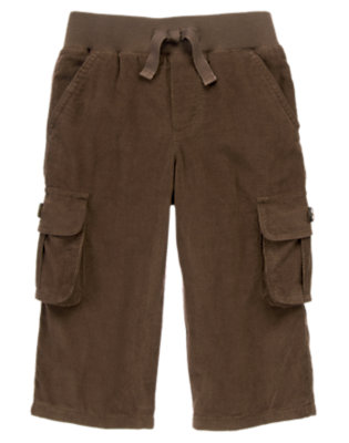 Toddler Boys Chocolate Brown Ribbed Waist Corduroy Cargo Pant by Gymboree