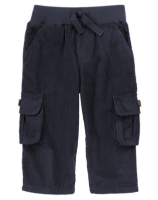 Gym Navy Ribbed Waist Corduroy Cargo Pant by Gymboree