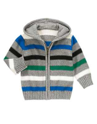 Charcoal Grey Stripe Stripe Hooded Sweater Cardigan by Gymboree