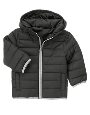 Toddler Boys Black Lightweight Hooded Puffer Jacket by Gymboree